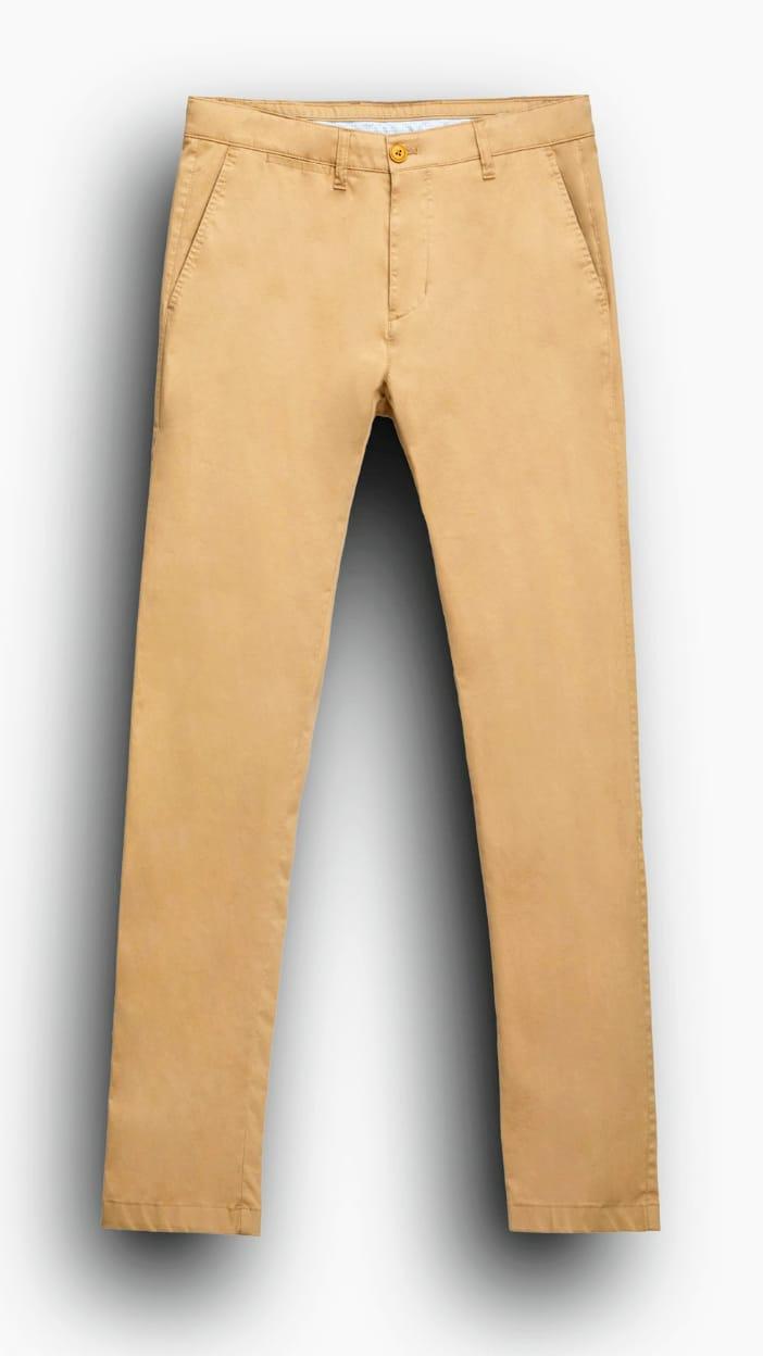 Hombre Pantalon Chino De Gabardina